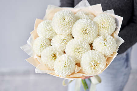Mono bouquet of white dahlias. Beautiful bouquet of flowers in womans hands. the work of the florist at a flower shop. Handsome fresh bouquet. Flowers delivery