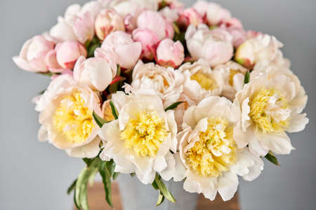 Beautiful white peony flower for catalog or online store. Floral shop concept . Beautiful fresh cut bouquet. Flowers delivery