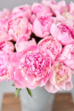 Beautiful Pink peony flower for catalog or online store. Floral shop concept . Beautiful fresh cut bouquet. Flowers delivery