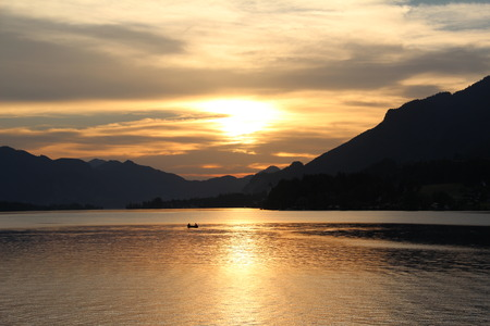 beautiful scenery: Sunset on the Lake Wolfgang Austria