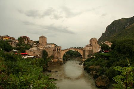 reconstruct: Old Bridge in Mostar, Bosnia Stock Photo