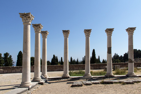 hippocrates: Asklepion. Seven columns in Asklepion - place on the Iceland Kos in Greece, where Hippocrates worked.