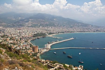 alanya: Alanya, Turkey. Panorama of Alanya Old Harbor.