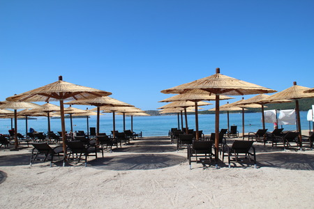 croatian: Umbrellas on a Croatian beach