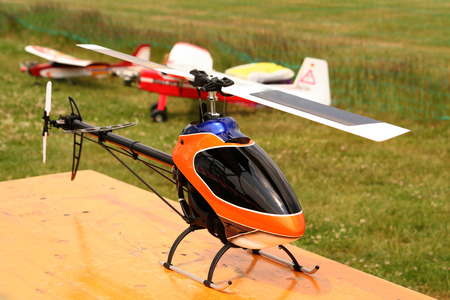 controlled: Helicopter model, controlled by radio model. Stock Photo