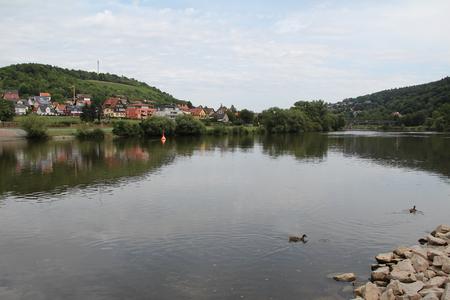 wertheim: The confluence of the Tauber in the Main in Wertheim.