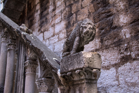 old city: Lion on the streets of the old city of Sibenik Croatia