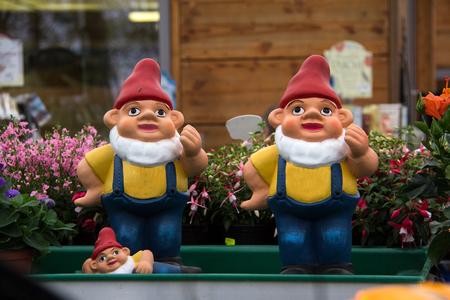 Garden gnomes. Decoration in the garden. Stock Photo