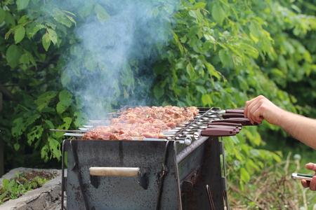 shashlik: It is grilled shashlik on a Mangal
