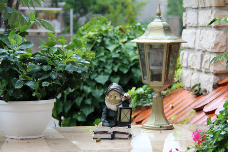 lawn gnome: Garden decoration Stock Photo