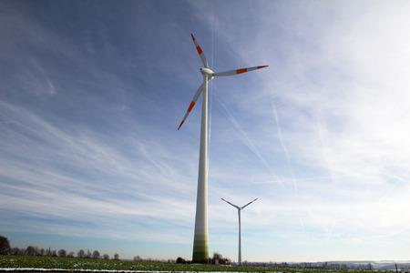 production area: Yard of windmill power generator under blue sky