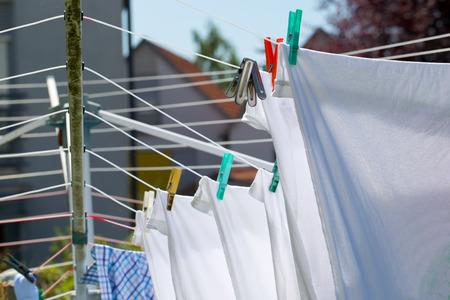 Washing clothes washed on a rope. Lizenzfreie Bilder