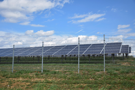 Solar power plant construction  Alternative energy Stok Fotoğraf