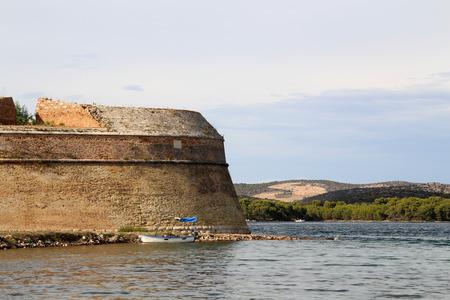 Sibenik St. Nicholas Fortress  16 century St. Nicholas fortress (Croatia) Standard-Bild - 110628151