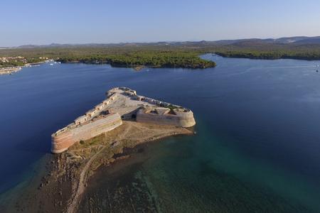 Sibenik St. Nicholas Fortress / 16 century St. Nicholas fortress (Croatia) Standard-Bild - 111689792
