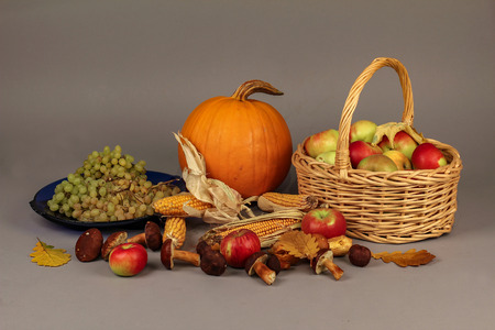 Autumn still life: vegetables and fruits. Stock Photo