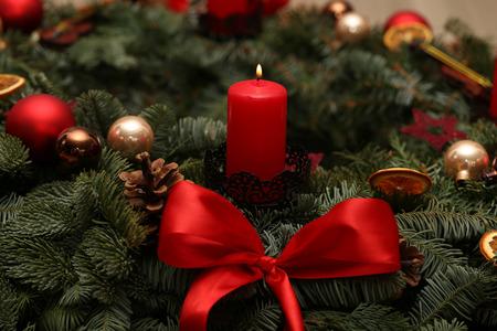 Advent Season, four candles burning. Advent background. Lizenzfreie Bilder