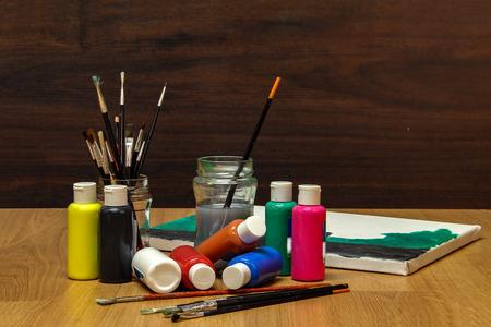 Watercolor paints Standard-Bild