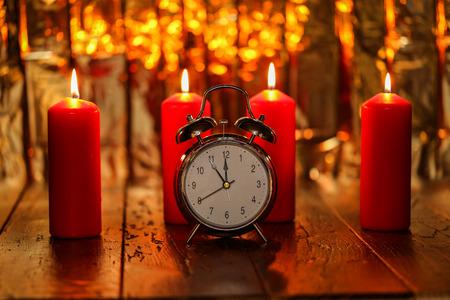 Advent Season, four candles burning. Advent background. Stock fotó