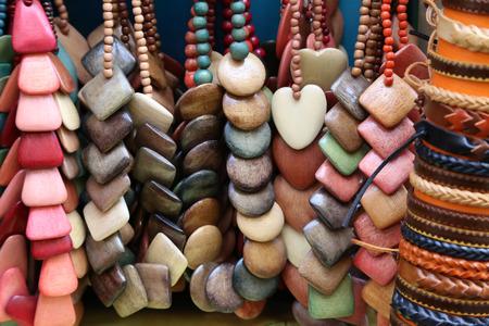 Bijouterie  Homemade beads made of wood Standard-Bild - 110763853