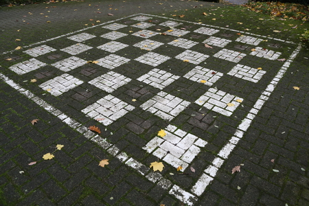 Playing chess in the open air  Chess field on the asphalt Standard-Bild - 110763822