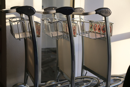 Luggage Trolleys  Baggage carts at the airport.