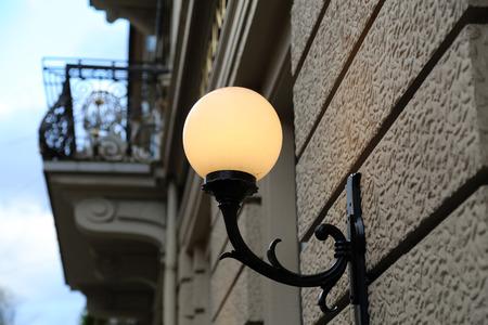 City  Street light  Vintage street lamp close-up.