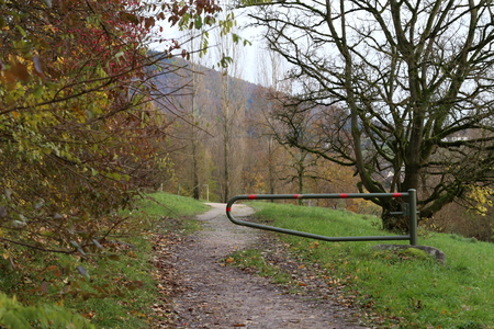 The barrier in the park / Landscape with trees and barrier Standard-Bild - 92928884
