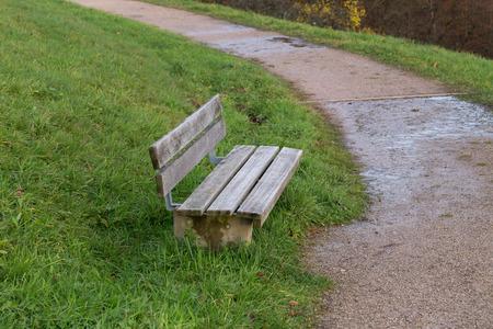 Bench in the park / Wooden bench for rest Standard-Bild - 92928886