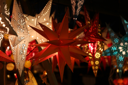 Beautiful Christmas and New Years scene  Christmas Market Stock Photo