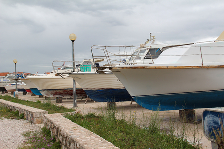 Boats for repairs Standard-Bild - 115687220