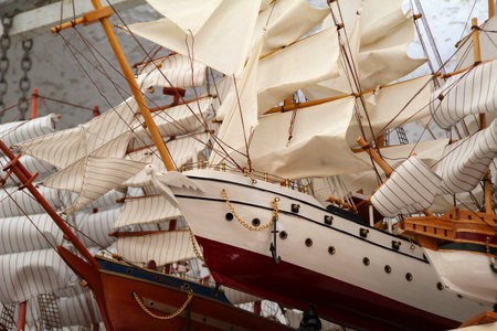 Model of sailboats / Wooden ship toy model 스톡 콘텐츠