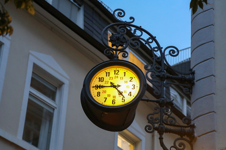 Beautiful city clock / The clock on the streets Standard-Bild - 115687054