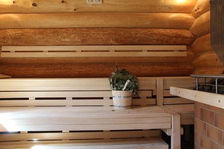 Sauna is healthy / Finnish sauna with hot dry steam Standard-Bild - 111689183