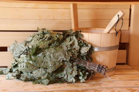Sauna is healthy / Finnish sauna with hot dry steam Standard-Bild - 111689184