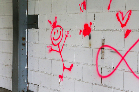 Drawings on a brick wall