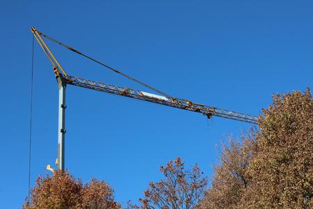 Crane. Crane on a blue sky background. Standard-Bild - 114621006