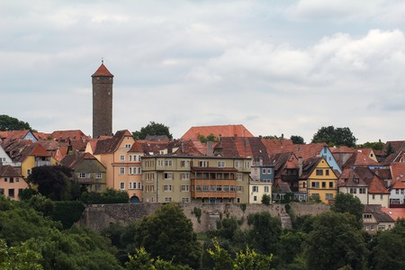 Town of Rothenburg ob der Tauber, Germany. Panorama of the city. Standard-Bild - 116009297