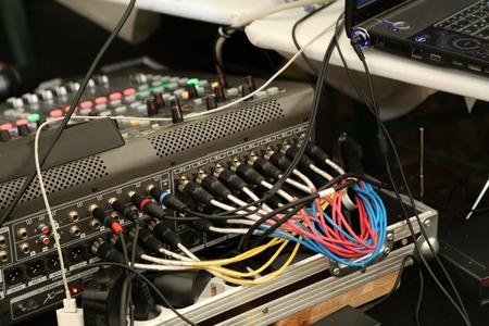 DJ desk, remote control light in the concert hall Stock Photo