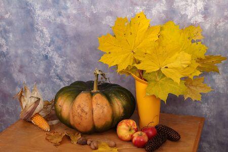 Autumn  Autumn still life  Apples and pumpkins