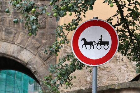 Road sign: horse traffic prohibited