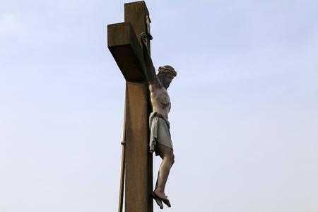 Jesus Christ crucified. An ancient wooden sculpture