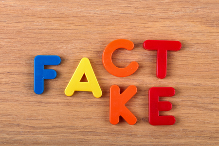 Fact or Fake. Words are made of plastic letters.