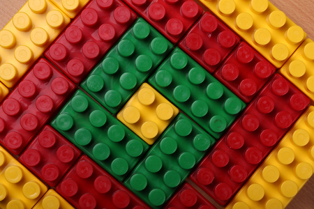 Beautiful background from a multi-colored plastic brick Stockfoto