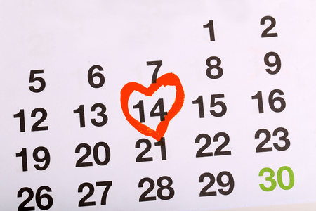 On the calendar marked Valentines day.