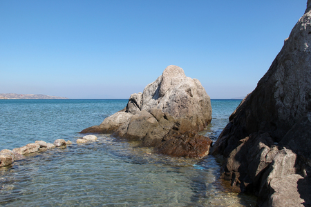 Rocky beaches of the Aegean Sea on the island of Kos in Greece