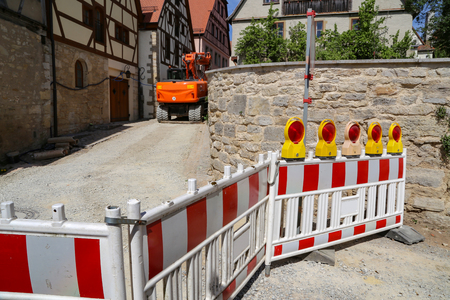 Signposted work on the street of water pipe repair work