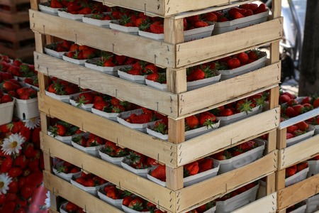 Fresh strawberries are on sale at the Bazaar.