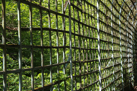 Wooden fence in the form of a grid.