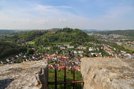 View from the Bilstein Tower to Marsberg, Germany, North Rhine-Westphalia, Sauerland, Marsberg